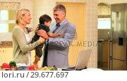 Купить «Father arriving home from work and kissing wife and baby », видеоролик № 29677697, снято 6 ноября 2010 г. (c) Wavebreak Media / Фотобанк Лори