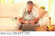 Купить «Man triumphant after transaction on his laptop», видеоролик № 29677737, снято 6 ноября 2010 г. (c) Wavebreak Media / Фотобанк Лори