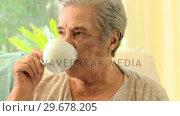 Купить «Pensive mature woman drinking tea», видеоролик № 29678205, снято 5 ноября 2010 г. (c) Wavebreak Media / Фотобанк Лори