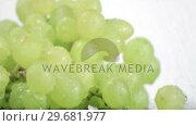 Купить «Green grapes in super slow motion being soaked», видеоролик № 29681977, снято 8 марта 2012 г. (c) Wavebreak Media / Фотобанк Лори