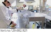 Купить «Cooks presenting their meals to the head chef», видеоролик № 29682921, снято 1 августа 2012 г. (c) Wavebreak Media / Фотобанк Лори