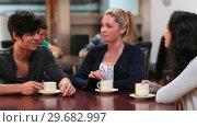 Купить «Friends enjoying coffee», видеоролик № 29682997, снято 25 июля 2012 г. (c) Wavebreak Media / Фотобанк Лори