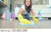 Купить «Video of brunette woman scrubbing the living room floor», видеоролик № 29683085, снято 4 июля 2012 г. (c) Wavebreak Media / Фотобанк Лори