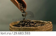 Купить «Coffee beans pouring from wooden scooper to basket», видеоролик № 29683593, снято 14 марта 2012 г. (c) Wavebreak Media / Фотобанк Лори