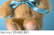 Купить «Teddy bear falling on blue background close up», видеоролик № 29683861, снято 17 января 2013 г. (c) Wavebreak Media / Фотобанк Лори