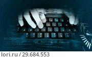 Купить «Futuristic screen showing someone using keyboard», видеоролик № 29684553, снято 26 апреля 2013 г. (c) Wavebreak Media / Фотобанк Лори