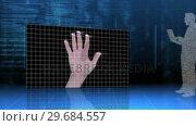 Купить «Screens showing eye and hand identification on futuristic interface», видеоролик № 29684557, снято 26 апреля 2013 г. (c) Wavebreak Media / Фотобанк Лори