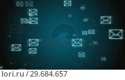 Digital animation of email envelopes floating everywhere. Стоковое видео, агентство Wavebreak Media / Фотобанк Лори