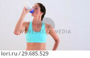 Купить «Fit brunette drinking from sports bottle and smiling», видеоролик № 29685529, снято 10 июля 2013 г. (c) Wavebreak Media / Фотобанк Лори