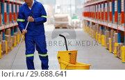 Купить «Male warehouse worker moping floor», видеоролик № 29688641, снято 23 марта 2016 г. (c) Wavebreak Media / Фотобанк Лори