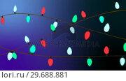 Купить «Illustration of christmas greeting with christmas lights», видеоролик № 29688881, снято 23 сентября 2016 г. (c) Wavebreak Media / Фотобанк Лори