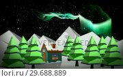 Купить «Illustration of a house with snowfall», видеоролик № 29688889, снято 23 сентября 2016 г. (c) Wavebreak Media / Фотобанк Лори