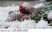 Купить «Pine cone and red cherries with fake snow», видеоролик № 29688993, снято 30 августа 2016 г. (c) Wavebreak Media / Фотобанк Лори