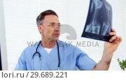 Купить «Male doctor examining an x-ray», видеоролик № 29689221, снято 25 августа 2016 г. (c) Wavebreak Media / Фотобанк Лори