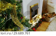 Купить «Decoration on christmas tree», видеоролик № 29689761, снято 6 июня 2016 г. (c) Wavebreak Media / Фотобанк Лори