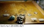 Купить «Close-up of clock repairing tool and screws», видеоролик № 29690421, снято 17 сентября 2016 г. (c) Wavebreak Media / Фотобанк Лори