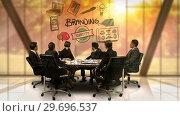 Купить «Businesspeople looking at futuristic screen showing branding indentity symbol», видеоролик № 29696537, снято 5 июля 2016 г. (c) Wavebreak Media / Фотобанк Лори