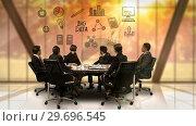 Купить «Businesspeople looking at futuristic screen showing big data symbol», видеоролик № 29696545, снято 5 июля 2016 г. (c) Wavebreak Media / Фотобанк Лори
