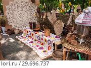 Купить «Russia, Khabarovsk, August 18, 2018: Folk handicrafts, needlework from natural materials», фото № 29696737, снято 18 августа 2018 г. (c) Катерина Белякина / Фотобанк Лори