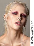 Young beautiful woman with fashion make up. Стоковое фото, фотограф Людмила Дутко / Фотобанк Лори