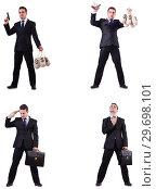 Купить «Businessman with money sacks, briefcase and handgun», фото № 29698101, снято 22 марта 2019 г. (c) Elnur / Фотобанк Лори