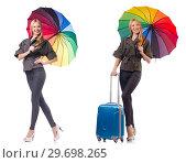 Купить «Woman with suitcase and umbrella isolated on white», фото № 29698265, снято 16 января 2019 г. (c) Elnur / Фотобанк Лори