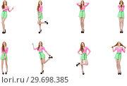 Купить «Beautiful woman in green skirt», фото № 29698385, снято 17 января 2019 г. (c) Elnur / Фотобанк Лори