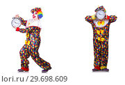Купить «Funny male clown with alarm-clock», фото № 29698609, снято 19 января 2019 г. (c) Elnur / Фотобанк Лори