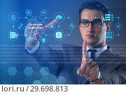 Купить «Businessman pressing virtual button in quantum computing concept», фото № 29698813, снято 5 августа 2020 г. (c) Elnur / Фотобанк Лори