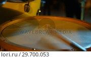 Купить «Drummer playing drum in studio», видеоролик № 29700053, снято 23 ноября 2016 г. (c) Wavebreak Media / Фотобанк Лори