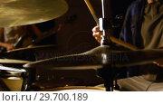 Купить «Drummer playing drum in studio», видеоролик № 29700189, снято 23 ноября 2016 г. (c) Wavebreak Media / Фотобанк Лори