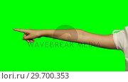 Person making hand gesture against green screen background. Стоковое видео, агентство Wavebreak Media / Фотобанк Лори