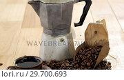 Купить «Coffee with coffeemaker and scoop», видеоролик № 29700693, снято 6 октября 2016 г. (c) Wavebreak Media / Фотобанк Лори