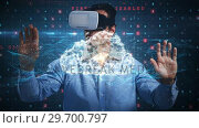 Купить «Man using virtual reality headset and futuristic screen», видеоролик № 29700797, снято 11 мая 2017 г. (c) Wavebreak Media / Фотобанк Лори