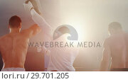 Купить «Boxer holding winner hand after announcing victory», видеоролик № 29701205, снято 22 января 2017 г. (c) Wavebreak Media / Фотобанк Лори