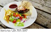Купить «Snacks and salad with ketchup on plate», видеоролик № 29701597, снято 13 января 2017 г. (c) Wavebreak Media / Фотобанк Лори