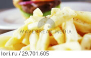 Купить «Hamburger and french fries on plate», видеоролик № 29701605, снято 13 января 2017 г. (c) Wavebreak Media / Фотобанк Лори
