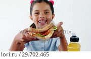 Купить «Cute girl holding sandwich against white background», видеоролик № 29702465, снято 5 апреля 2017 г. (c) Wavebreak Media / Фотобанк Лори