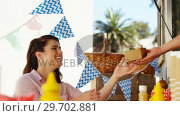 Купить «Waiter taking order from couple», видеоролик № 29702881, снято 26 марта 2017 г. (c) Wavebreak Media / Фотобанк Лори