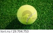 Купить «Close-up of tennis balls on grass 4k», видеоролик № 29704753, снято 6 апреля 2017 г. (c) Wavebreak Media / Фотобанк Лори