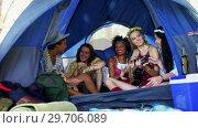 Купить «Friends singing song and playing guitar in tent 4k», видеоролик № 29706089, снято 9 марта 2017 г. (c) Wavebreak Media / Фотобанк Лори