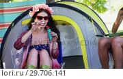 Купить «Group of friends blowing bubbles at music festival 4k», видеоролик № 29706141, снято 9 марта 2017 г. (c) Wavebreak Media / Фотобанк Лори