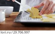 Купить «Woman placing gingerbread cookies in baking tray 4k», видеоролик № 29706997, снято 5 мая 2017 г. (c) Wavebreak Media / Фотобанк Лори