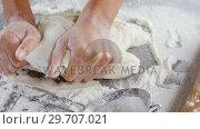 Купить «Woman kneading a dough 4k», видеоролик № 29707021, снято 5 мая 2017 г. (c) Wavebreak Media / Фотобанк Лори