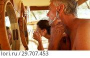Купить «Man shaving his beard with razor and woman looking her face in mirror 4k», видеоролик № 29707453, снято 12 мая 2017 г. (c) Wavebreak Media / Фотобанк Лори