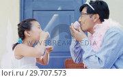 Купить «Father and daughter in fairy costume having a tea party 4k», видеоролик № 29707573, снято 20 марта 2017 г. (c) Wavebreak Media / Фотобанк Лори
