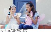 Купить «Siblings in fairy costume having a tea party 4k», видеоролик № 29707577, снято 20 марта 2017 г. (c) Wavebreak Media / Фотобанк Лори