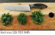 Купить «Chopped herbs with knife on chopping board 4k», видеоролик № 29707845, снято 5 июня 2017 г. (c) Wavebreak Media / Фотобанк Лори