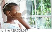 Купить «Girl in fairy costume looking through window 4k», видеоролик № 29708097, снято 15 марта 2017 г. (c) Wavebreak Media / Фотобанк Лори