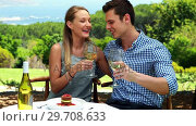 Купить «Couple toasting glasses of wine in outdoor restaurant 4k», видеоролик № 29708633, снято 21 ноября 2016 г. (c) Wavebreak Media / Фотобанк Лори